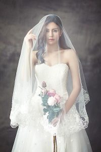 Bride in white, amazing dress
